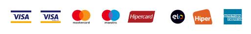 Bandeira de Cartões de Crédito aceitos pela pagseguro, visa, mastercard, maestro, hipercard, elo, hiper e american express