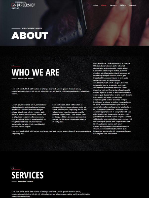 Print do site Barbearia, Salão de Cabeleireiro - Página Quem Somos