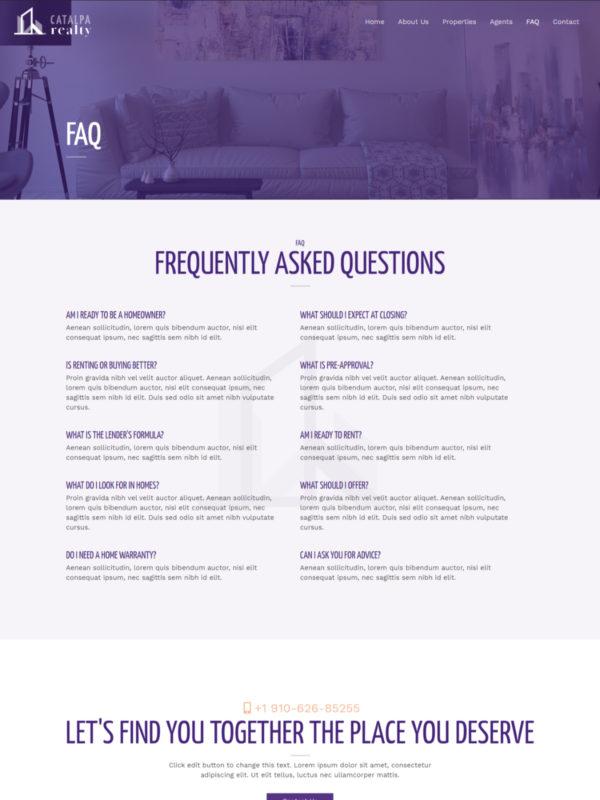 Print do site Corretor de Imóveis página Perguntas e Respostas