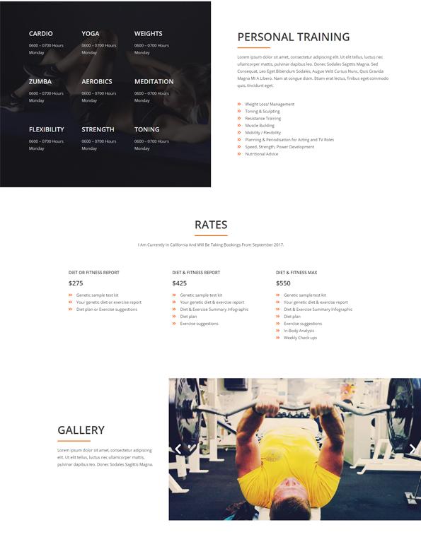 Print do site Personal Trainer - Página Preços