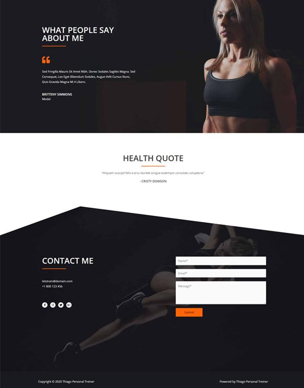 Print do site Personal Trainer - Página Contato